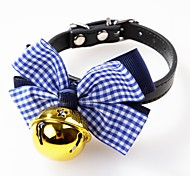 cheap -Dogs / Cats / Pets Collar Adjustable / Retractable / Bowknot / With Bell Solid Colored / Polka Dot / Plaid / Check PU Leather Red / Blue