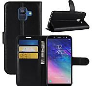 Недорогие -Кейс для Назначение SSamsung Galaxy A6+ (2018) / A6 (2018) Кошелек / Бумажник для карт / Флип Чехол Однотонный Твердый Кожа PU для A6
