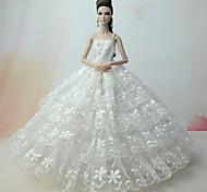 Недорогие -Свадьба Платья Для Кукла Барби Кружево Satin Платье Для Девичий игрушки куклы