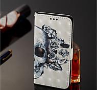 Недорогие -Кейс для Назначение Nokia Nokia 7 Plus / Nokia 6 2018 Кошелек / Бумажник для карт / со стендом Чехол Черепа Твердый Кожа PU для Nokia 7