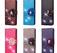 Недорогие -Кейс для Назначение Sony Xperia X Performance / Xperia X compact Кошелек / Бумажник для карт / Стразы Чехол Однотонный / Цветы Твердый Кожа PU для Sony Xperia XZ / Sony Xperia XR / Sony Xperia XP