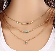 preiswerte -Damen Türkis Layered Ketten - Augen Klassisch, Modisch Gold 40 cm Modische Halsketten 1pc Für Alltag