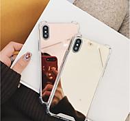 Недорогие -Кейс для Назначение Apple iPhone X / iPhone 8 Защита от удара / Зеркальная поверхность Кейс на заднюю панель Однотонный Твердый ПК для iPhone X / iPhone 8 Pluss / iPhone 8