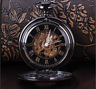 cheap -Men's Skeleton Watch Pocket Watch Mechanical manual-winding Black Casual Watch Cool Analog Vintage Casual Steampunk - Black