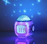 cheap -Music Starry Sky Projection Alarm Clock Snooze Digital LED Alarm Clock Calendar Thermometer Projection Light