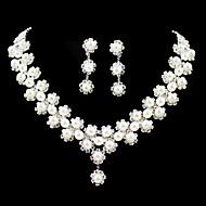 Femme Strass Mariage Soirée Anniversaire Fiançailles Imitation de perle Alliage Boucles d'oreille Colliers décoratifs