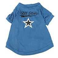 お買い得  -犬 Tシャツ 犬用ウェア Stars ブルー コットン コスチューム ペット用