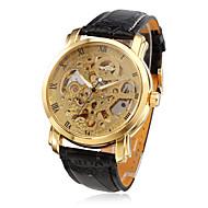 Недорогие Фирменные часы-WINNER Муж. Часы со скелетом Механические часы С автоподзаводом Защита от влаги С гравировкой PU Группа Аналоговый Роскошь Черный - Золотой