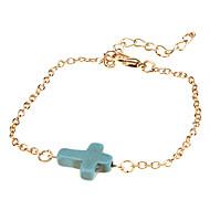 Damen Wickelarmbänder Vintage Armbänder Synthetische Edelsteine Türkis Aleación Kreuzform Schmuck Für Hochzeit
