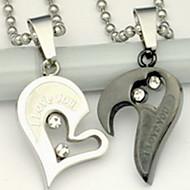 billige Smykker & Ure-Halskædevedhæng - Rustfrit Stål Hjerte, Kærlighed Sølv Halskæder Til Daglig