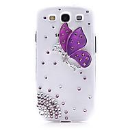 Для Кейс для  Samsung Galaxy Стразы / Прозрачный / С узором Кейс для Задняя крышка Кейс для Бабочка PC Samsung S3