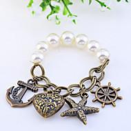 Női Elbűvölő karkötők Szerelem jelmez ékszerek Gyöngy Ötvözet Heart Shape Horgony Ékszerek Kompatibilitás Esküvő