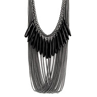 お買い得  -女性用 レイヤード ステートメントネックレス  -  樹脂 ドロップ ファッション, 多層式 ブラック ネックレス ジュエリー 用途 パーティー