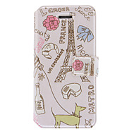 Life Around Eiffel Tower Pattern PU Full Body Case with Card Slot and Stand for iPhone 5/5S