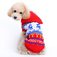 Cat Dog Sweater Hoodie Dog Clothes Woolen Winter Spring/Fall Cute Christmas Reindeer Red Costume For Pets