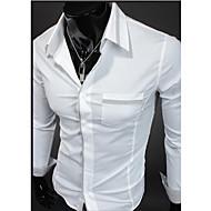 Manga comprida camisas de algodão do homem