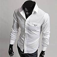 Masculino Camisa Casual Manga Comprida Misto de Algodão Preto / Branco