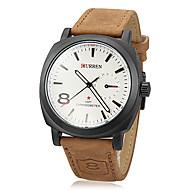 baratos -Homens Relógio Militar Quartzo Couro PU Acolchoado Cáqui Analógico Branco Cinzento