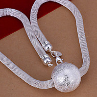 זול -כדור שרשרת מצופה כסף אבק נשים שרשראות תכשיטים 1pc עבור חתונה Party יומי קזו'אל ספורט