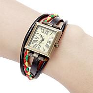 Mujer Reloj de Moda Reloj Pulsera Japonés Cuarzo Cuero Auténtico Banda Cosecha Bohemio Negro Blanco Rojo Marrón Múltiples ColoresBlanco