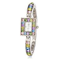 cheap Watch Deals-Women's Colorful Diamante Rectangle Dial Quartz Analog Bracelet Watch Cool Watches Unique Watches