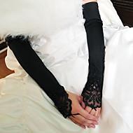 Недорогие Перчатки и рукавицы-Эластичный сатин / Хлопок До запястья / До плеча Перчатка Кулоны / Стиль / Свадебные перчатки С Вышивка / Однотонные