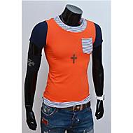 Camiseta(deAlgodão,Laranja / Amarelo) -MEN-Casual-Manga Curta-Color Block