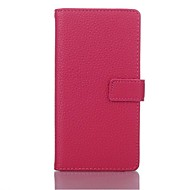 billige Etuier&Covers-Solid Color Litchi Texture Full Body læderetui med stander til Sony Xperia M2 S50h