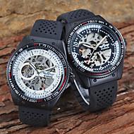 Недорогие Фирменные часы-Муж. Механические часы С автоподзаводом С гравировкой силиконовый Группа Аналоговый Роскошь Черный - Белый Черный