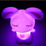 abordables Gadgets LED-Coway Lovely Love Rabbit de colores de luz LED de la noche