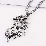 European Dragon (Animal) Silver Titanium Steel Pendant Necklace(Silver) (1 Pc) Jewelry Christmas Gifts