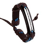 Herre vævet ID armbånd Læder Armbånd Læder Alfabetformet Europæisk Inspirerende Indledende Armbånd Smykker Brun Til Daglig