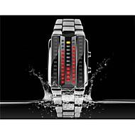 abordables Relojes Llavero-SKMEI Mujer Reloj de Moda Llavero Reloj Reloj digital Digital LED Acero Inoxidable Banda Lujo Negro Plata