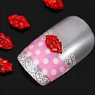 Χαμηλού Κόστους Τέχνη Νυχιών-10pcs σέξι κόκκινα χείλη 3d DIY εξαρτήματα από κράμα κόσμημα rhinestone διακόσμηση καρφί τέχνης