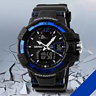 SKMEI 남성 손목 시계 디지털 시계 LCD 달력 크로노그래프 방수 듀얼 타임 존 경보 석영 디지털 일본 쿼츠 고무 밴드 블랙 그린