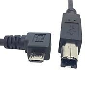 0.3m 1ft riktig vinklet 90 grader micro USB OTG til standard b type skriver skanner harddisken kabel gratis frakt
