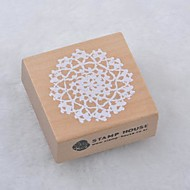 5cm x 5cm Square Romantic Floral Flower Pattern Wooden Stamps