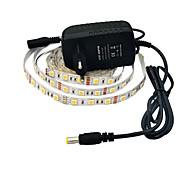 halpa LED-valonauhat-jiawen® 2.5m 12w 150x5050smd 6000-6500k valkoinen led joustavat nauhat valo + 2a teho (AC 110-240)
