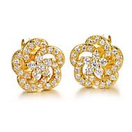 Χαμηλού Κόστους -Cubic Zirconia Κουμπωτά Σκουλαρίκια Ζιρκονίτης Επιχρυσωμένο Σκουλαρίκια Λουλούδι Κοσμήματα Χρυσό Για Γάμου Πάρτι Καθημερινά Causal Αθλητικά