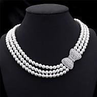 Жен. Ожерелья-бархатки Ожерелья-цепочки Воротничок Жемчуг В форме банта Жемчуг Искусственный жемчуг Стразы Многослойный бижутерия Свадьба