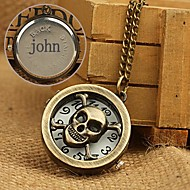 abordables Relojes Personalizados-aleación de regalo personalizado reloj de bolsillo grabado con el collar de cadena de 78cm