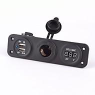Dual USB soquetes adaptador de carregador de 12-24V motocicleta Car Charger& voltímetro
