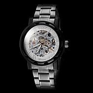 お買い得  Winner-WINNER 男性 スケルトン腕時計 機械式時計 透かし加工 手巻き式 ステンレス バンド ブラック