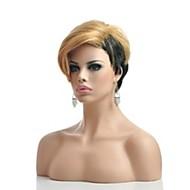 halpa -Synteettiset peruukit Suora Tiheys Suojuksettomat Naisten Vaaleahiuksisuus Luonnollinen peruukki Lyhyt Synteettiset hiukset
