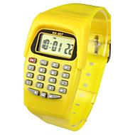 abordables Relojes de Niño-Niños damas Reloj de Moda Reloj digital Japonés Cuarzo Digital 30 m Calendario Reloj Casual Caucho Banda Digital Caramelo Amarillo - Amarillo Dos año Vida de la Batería