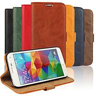 Varten Samsung Galaxy kotelo Lomapkko / Korttikotelo / Tuella / Flip Etui Kokonaan peittävä Etui Yksivärinen Tekonahka Samsung S5