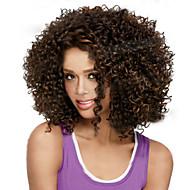 Vrouw Synthetische pruiken Kort Gekruld Bruin Haar met highlights/balayage Afro-Amerikaanse pruik Natuurlijke pruik Kostuumpruik