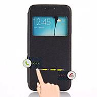Недорогие Чехлы и кейсы для Galaxy S-Cwxuan Кейс для Назначение SSamsung Galaxy Кейс для  Samsung Galaxy со стендом / с окошком / С функцией автовывода из режима сна Чехол Однотонный Кожа PU для S6 edge