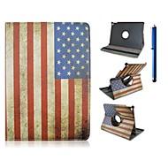Χαμηλού Κόστους Θήκες/Καλύμματα για iPad-9,7 ιντσών 360 μοιρών περιστροφής μοτίβο σημαία με την περίπτωση περίπτερο και στυλό για ipad αέρα 2 / iPad 6
