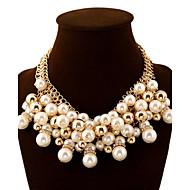 billige -Dame Ball Luksus Mote Europeisk Erklæringssmykker Multi Layer Elegant Uttalelse Halskjeder Perle Fuskediamant Legering Uttalelse